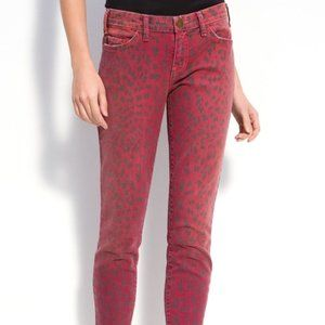 Current Elliott Stiletto Skinny Jeans Red Leopard